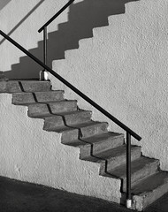 Steps, Portland (austin granger) Tags: steps portland oregon stairs pattern geometry shadows lines shapes stucco concrete design architecture railings film largeformat chamonix