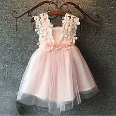 A-Line Square Short Pink Tulle Flower Girl Dress with Lace Flowers (sherrymary68) Tags: flower girl dress pink cute tutu lovely tulle lace