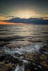 sunblock (akh1981) Tags: seaside water cumbria landscape waterscape wideangle rocks sunset manfrotto nikon nisi clouds