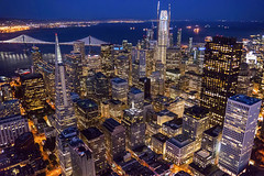 San Francisco Illuminated (TIA International Photography) Tags: sanfrancisco sf san fran california northern city urban landscape night blue golden hour aerial illumination buildings skyscrapers view financial district commerce commercial business evening twilight downtown center centre transamerica salesforce tower pyramid 345 555 bay bridge cityscape tosinarasi tia ©tiainternationalphotography metropolis bayarea rooftops