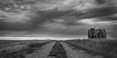 No Rest for the Wicked (Flint Roads) Tags: bw mt montana usa abandoned blackandwhite church clouds decay deteriorated field gravel old plains road roadside rural