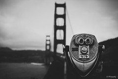 50¢ to watch (.KiLTRo.) Tags: sanfrancisco california unitedstates kiltro bridge goldengate coast sf bay shore sea ocean weather bw city clouds winter