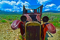 Jar Jar Binks, the later years. (oybay©) Tags: greatbasinnationalpark nationalpark park lehmancaves ranchersexhibit 1928ford ford car automobile desert middleofnowhere mountain snow jeffdavismountain jeffdavis color colors unique abandoned rusty old vintage bluff nevada texture layer photoshop skeletalmess explore vehicle outdoor america americana antique classic cars photography corroding cow decaying deserted driving junk junked motor mountains north model rural rust rusted rusting skeleton transportation united states usa rustyandcrusty crusty truck