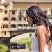 Bride against Ponte Vecchio, Florence