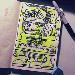 Loyal Royal (Marcos D. Torres) Tags: indoor painting mural paint pintura pintor art artist draw drawing desenho design pen pencil marker spray spraycan paper doodle rabisco rascunho exercise sketch sketchbook caderno outdoor black white yellow orange purple blue red green colorfull pb bw wood glass metal face portrait type letter typography profile hand skull animal sketches sketching mc ride death grips dog dawg goat