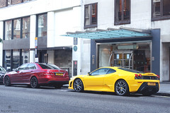 Morning in Mayfair (Beyond Speed) Tags: ferrari 430 scuderia f430 mercedes amg e63 supercar supercars car cars carspotting nikon v8 yellow red london mayfair automotive automobili auto