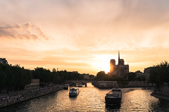 Seine (zh3nya) Tags: paris france notredame urban river seine sunset boats d750 sigma35mmf14 goldenhour city street