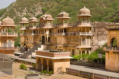 At Galta Kund temple (part of Galtja) India (JJ Doro - Bangkok) Tags: galta galtakund hindu hinduism india indian jaipur rajasthan shivmandir temple bathing cow history holy sacred sandstone in