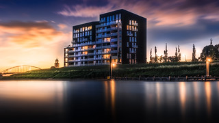 Long exposure after sunset of Pothoofd Deventer Overijssel