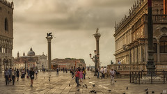Piazza San Marco (BAN - photography) Tags: sanmarco venice tourists pigeons statues arches columns lamps domes stgiorgiomaggiore doges palace