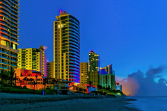 View of the skyline of Hollywood Beach, Broward County, Florida, USA (Jorge Marco Molina) Tags: hollywood hollywoodbeach city cityscape urban downtown skyline browardcounty southflorida density centralbusinessdistrict skyscraper building architecture commercialproperty cosmopolitan metro metropolitan metropolis sunshinestate realestate condominium palmtrees highrise urbanpalms beach bluehour