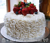 Rosettes and Fresh Berries Birthday Cake