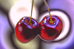 cherry picting (HansHolt) Tags: cherry picting cherries two kersen twee duo fruit red rood light reflection reflectie macro bokeh dof abstract canon 6d 100mm canoneos6d canonef100mmf28macrousm