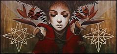 Sophie Wilkins (Chrixcel) Tags: projetsaato sophiewilkins yz yzeult graff graffiti panneau tag arturbain woman perroquet cercle geométrie portrait women fresque painture painting streetart femme parrot