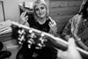 Cat's birthday (Gary Kinsman) Tags: fujix100t fujifilmx100t 2017 london wc1 holborn party houseparty chancerylane pose posed bw blackwhite flash highiso night guitar middlefinger swearing people person