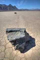 The Moving Rocks on the Playa Skid Marks (taharaja) Tags: cactus california deathvalley desert furnacecreek ghosttown jeeping lowestpoint nationalpark offroad oldtown racetrack sealevel zabriskiepoint lakebed movingstones slatflats unitedstates