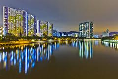Reflection Moment (briantang0703) Tags: reflection river water sea light night building city hongkong art patten 5d markiii 35mm cloud sky