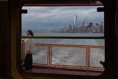 Staten Island Ferry (MaximeF) Tags: newyork usa nyc manhattan ferry water skyline boat staten girl fur