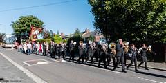 Marching through Thornley (Cerdic Elesing) Tags: banner brassband countydurham durhamminersassociation england gala kodakektar marching minersgala object performing thornley thurcroftband xequals unitedkingdom