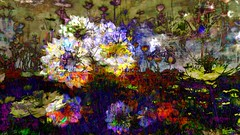 Field (Bamboo Barnes - Artist.Com) Tags: flower landscape texture white blue red yellow purple green photo painting digitalart light shadow bamboobarnes japan oriental