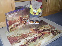 A brown pikchur by Broigle (pefkosmad) Tags: jigsaw puzzle hobby pastime leisure arrowgames greatpaintings art fineart painting thewinterlandscape breugheltheyounger breughel 1000pieces used secondhand complete pieterbreugheltheyounger landscape winter snow dutch tedricstudmuffin teddy bear ted cute stuffed soft toy animal plush fluffy