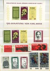 Archiv N131 DDR Sonderbriefmarke, 150. Geburtstag von Karl Marx, 1968 (Hans-Michael Tappen) Tags: archivhansmichaeltappen briefmarken stamps ephemera ddrzeit deutschepost ostalgie 1960s 1960er 1968 druck gestaltung design papier farbtechnik farbe post grafik