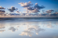 Reflection (karindebruin) Tags: westkapelle beach blauw blue clouds coast dutch nederland leefilters zee sea netherlands reflectie reflection filters holland kust lucht nd09hardgrad noordzee northsea strand sky the water wolken zeeland zand littlestopper nederlands air seascape