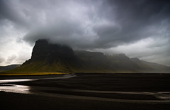 Lómagnúpur (Jack Landau) Tags: lómagnúpur mountain clouds lava field glacial stream river landscape nature volcanic black charred barren dramatic storm rain weather iceland jack landau