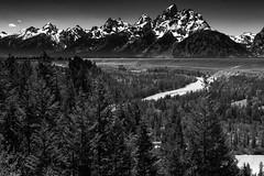 Snake River Overlook (Molechaser) Tags: snakeriver river jacksonhole wyoming grandteton nationalpark tetons mountains trees monochrome blackandwhite landscape canoneos60d canonef24105mmf4lisusm