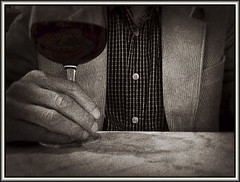 Me and a malbec (Bob R.L. Evans) Tags: wineglass jacket drink ipadphotography selfportrait unusual restaurant bar sepiatone solitude relaxing