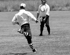 Rounding First -- Vintage Base Ball Game -- Ground Squirrels v. Stags (forestforthetress) Tags: man baseball sport athletics bw blackandwhite uniform team monochrome people outdoor nikon omot