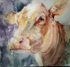 Cowgirl (sushipulla) Tags: cow cows colorful watercolours watercolors animalsart animals farmanimals farm painting artwork nature