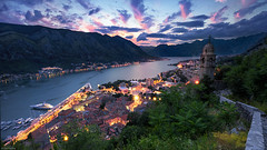 Above the bay (Dan_Fr) Tags: kotor montenegro europe dalmatia church churchofourlady sky landscape city sea sunset water travel twilight architecture lights beautiful evening mountain dusk citadel scenic bluehour exposureblending rayapro sony a7r