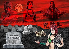 Nobodies Left ~ Asuka Fanart (Murciless) Tags: graveyard tombstone wrestling darkart graves sky empressoftomorrow masking cemetary womenswrestling ash red asuka fanart nxt undefeated wwe kana