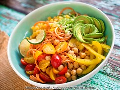 Southwest Sweet Potato Spiral Bowl 1 (Bitter-Sweet-) Tags: vegan food savory healthy raw rawfood quick easy nocook dinner lunch meal bowl spiralizer spiralized sweetpotatoes yams avocado vegetables plantbased summer seasonal produce beans legumes balanced wholesome spicy chipotle creamy cashew dressing sauce