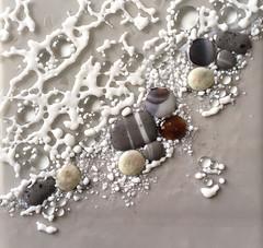Shoreline #1 (Niven Glass Originals) Tags: shoreline shore sea ocean waves foam glass fused rocks pebbles stones 9x12