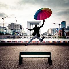 Happy jump in la défense (Zeeyolq Photography) Tags: france jump ladefense paris umbrella courbevoie îledefrance fr