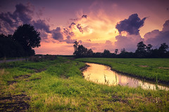 Sunset Creek (WhichWong) Tags: sunset creek d5300 tokina sky clouds grass atmosphere