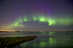 July 16 aurora goodness (John Andersen (JPAndersen images)) Tags: aurora langdon moon night panorama reflections weedlake