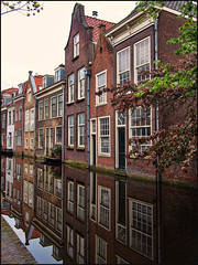Delft Reflections (Sally E J Hunter) Tags: delft holland netherlands paysbas oudedelft canal reflections