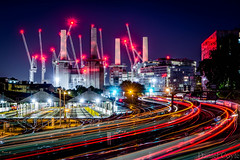 Building Work (Daniel Coyle) Tags: buildingwork batterseapowerstation battersea powerstation victoria victoriastation trains trainstation train trainblur traintracks cranes building sidings sheds lighttrails lights london londonnight longexposure londonbluehour night nightphotography nightshot nightonearth chelsea westminster danielcoyle nikon nikond7100 d7100 chimney