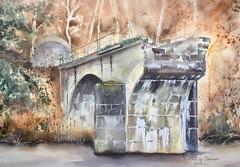Le pont cassé - Vallée de la Semois à Bohan (Demars Philippe) Tags: demars aquarelle watercolor pont pontcassé semois tunnel pontenarches