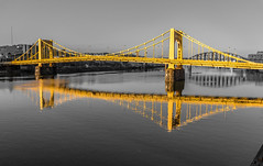 Black, White, and Gold (Lee of Western PA) Tags: selectivecolor bridge gold pittsburgh pennsylvania allegheny canon sl1 sigma river reflection symmetry