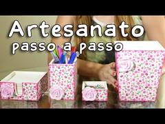 Artesanato em Madeira Kit Escritório com Decoupage de Guardanapo (Completo) (portalminas) Tags: artesanato em madeira kit escritório com decoupage de guardanapo completo