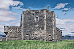 Blackness Castle (Rollingstone1) Tags: blacknesscastle fortress castle stone walls turret sky clouds history historic residence monarch scotland prison art artwork scottish medieval