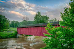 Covered Creek Crossing (tquist24) Tags: cataractfallscoveredbridge hdr indiana millcreek nikon nikond5300 outdoor bridge clouds coveredbridge geotagged longexposure morning park red river rural sky tree trees water spencer unitedstates architecture