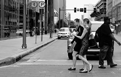 Theory (burnt dirt) Tags: houston texas downtown city street sidewalk crosswalk girl woman people person group crowd asian latina blonde brunette sexy cute longhair shorthair ponytail heels stilettos boots dress jeans shorts skirt stockings friend athlete sunglasses glasses office building worker streetphotography portrait fujifilm xt1 bw tattoo young model
