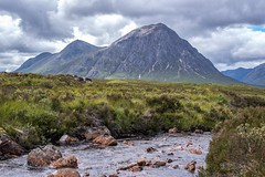 The Great Shepherd at Glen Coe , Highlands, Scotland (d53n) Tags: summertime scotland redrock climbing highlands glencoe river fields rock clouds sky mountain