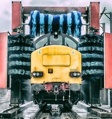 At the car wash... (Blaydon52C) Tags: class 37 drs directrailservices kingmoor carlisle cumbria cumberland railway rail railways trains train transport water wet locomotive locomotives loco locomotion railroad
