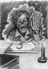 Charlie Says HELLO sketch (ashley russell 676) Tags: charlie says hello die carach angren dance laugh amongst rotten ouija board talking black candle drawing sketch illustration art graphic pencils spirit ghost entity paranormal supernatural